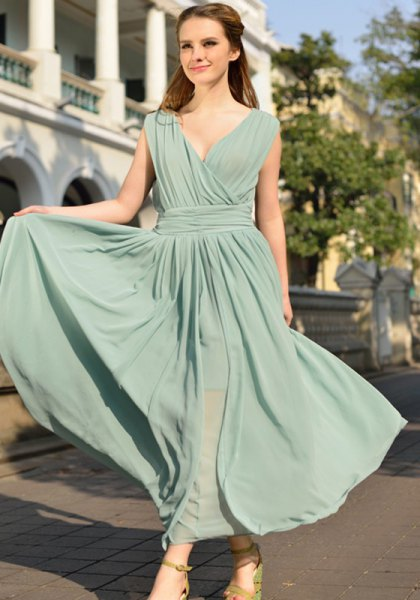 grey gathered waist deep v neck maxi flared dress