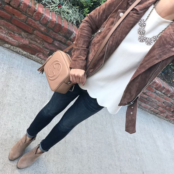 grey matte leather jacket with white scalloped blouse