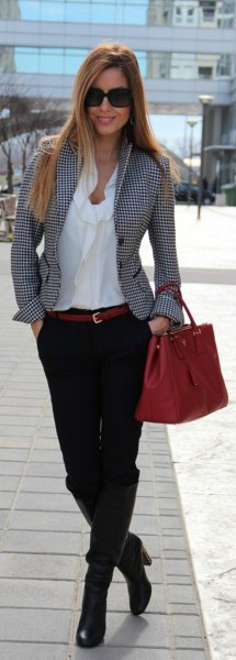 grey plaid tweed blazer and white cowl neck blouse
