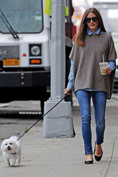 grey poncho sweater with blue chambray button up shirt