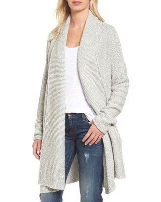 grey shawl collar sweater with white vest top and dark blue skinny jeans