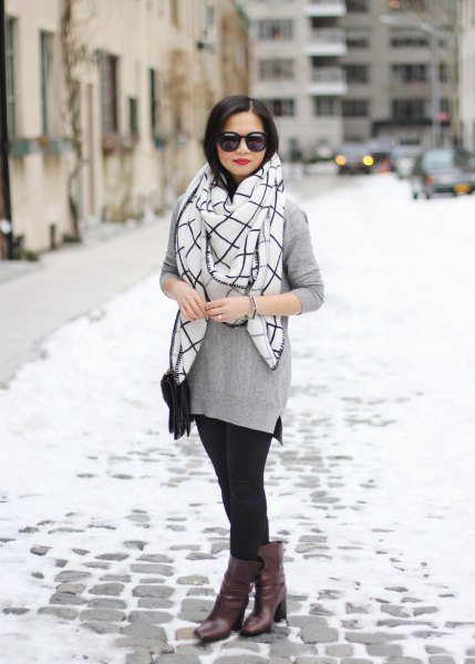 grey sweater with white and black plaid scarf