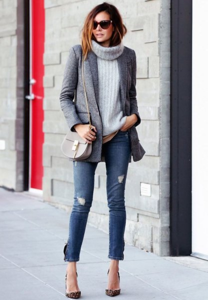 grey tweed boyfriend blazer with turtleneck ribbed chunky sweater