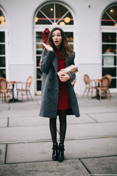 grey wool coat dress with black leggings leather boots