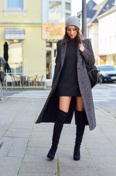 grey wool maxi coat with black mini shift dress