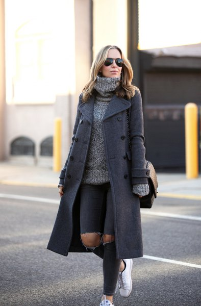 grey wool maxi coat with turtleneck chunky sweater