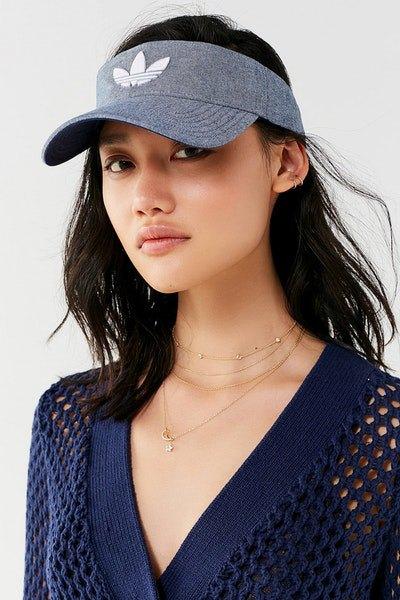 greyish blue denim cap with navy crochet mini dress