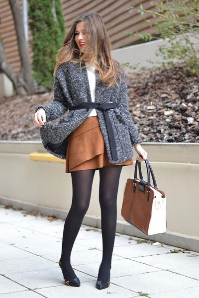 heather grey belted knit cardigan with brown mini skater suede skirt