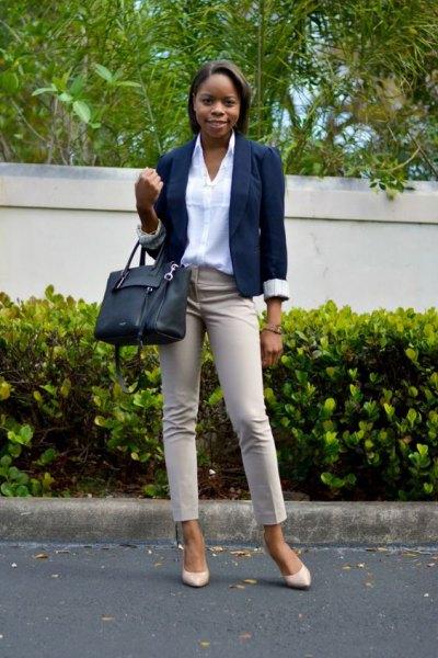 ivory khaki jean with white shirt and navy blazer