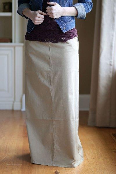 ivory khaki long skirt with denim jacket
