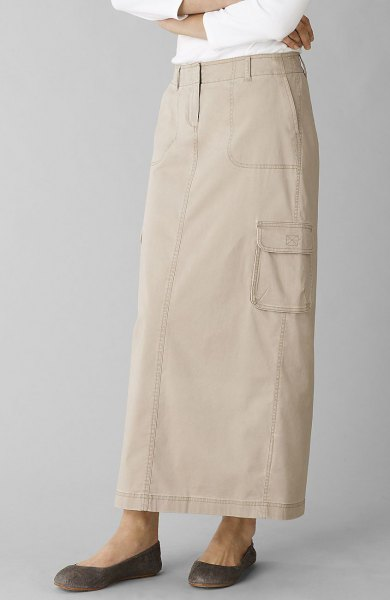 ivory long khaki straight cut skirt with white long sleeve top