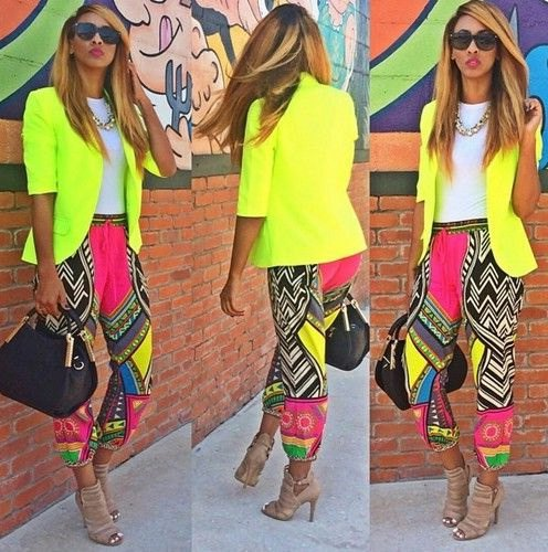 lemon yellow blazer with pink and black tribal printed pants