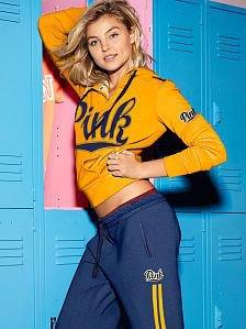 lemon yellow cropped half zip printed hoodie with jogger pants