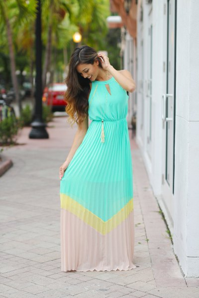 light blue and blush pink color block keyhole maxi dress