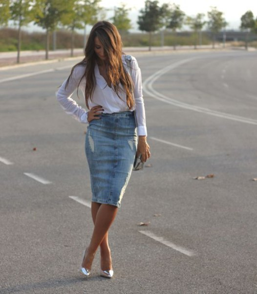 light blue button up shirt with knee length denim ripped skirt