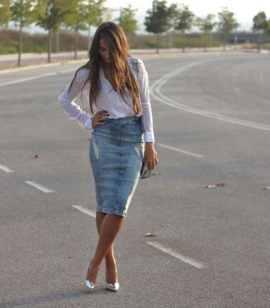light blue button up shirt with knee length denim ripped skirt