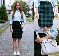 light blue button up shirt with navy and green plaid pencil skirt