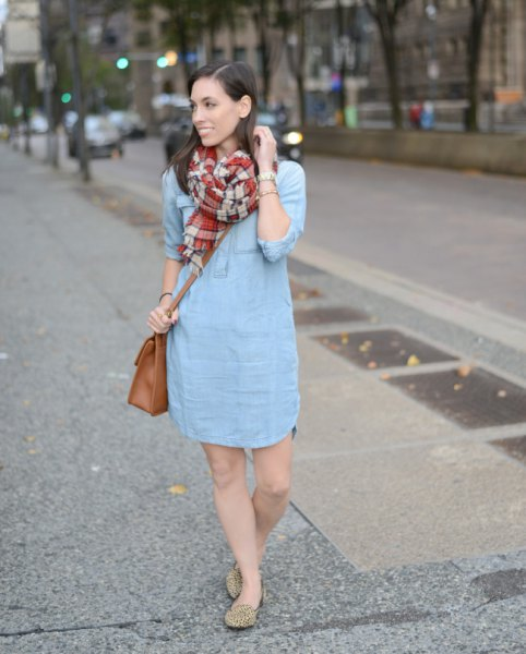 light blue mini shift dress with red and pink plaid scarf