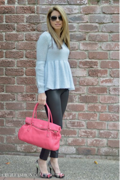 light blue peplum sweater with grey leggings