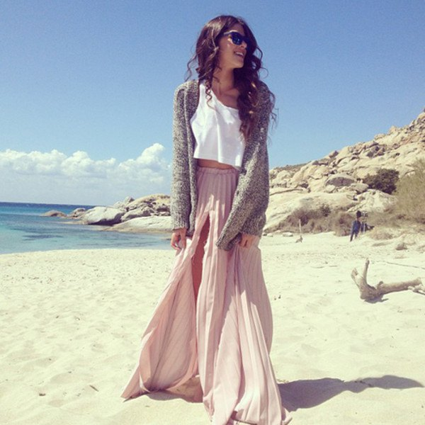 light grey pleated double slit maxi dress with white crop top and cardigan