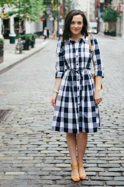 long sleeve tie waist checkered flared shirt dress