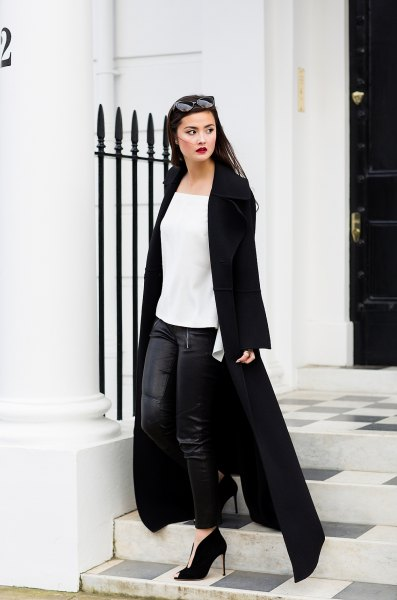 maxi coat with white chiffon square neck top and leather leggings