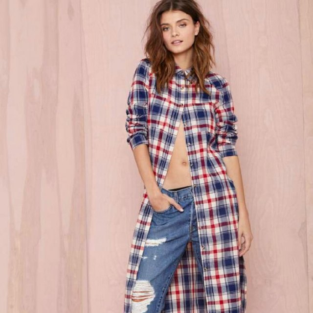 midi plaid tunic shirt dress with ripped boyfriend jeans