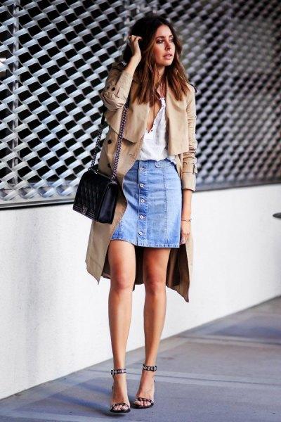 midi trench coat with mini blue denim skirt