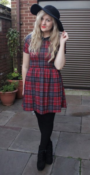 navy and red tartan fit and flare mini dress with black floppy hat