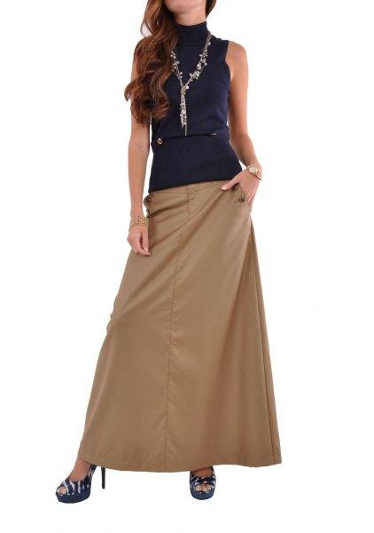 navy mock neck sleeveless top with khaki long skirt