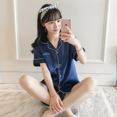 navy shorts with matching button up pajama shirt
