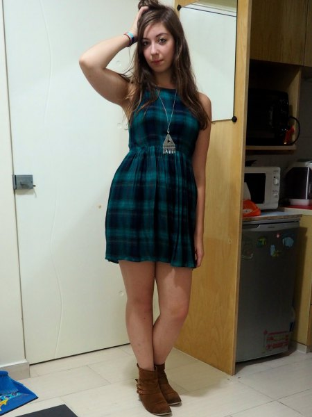 navy tartan sleeveless mini dress with ankle boots