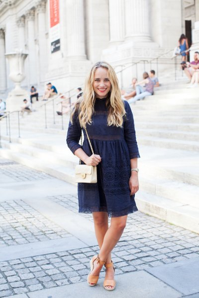 navy three quarter sleeve mock neck fit and flare mini dress