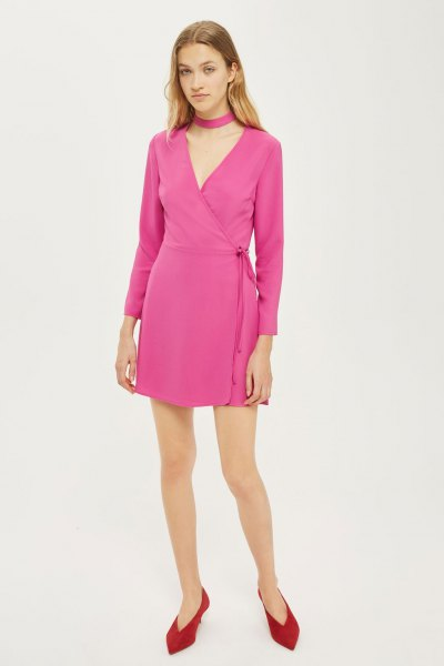 neon pink mini wrap dress with choker