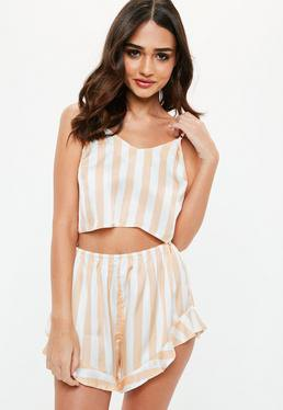 pale pink and white vertical striped flowy silk pajama shorts with matching crop top