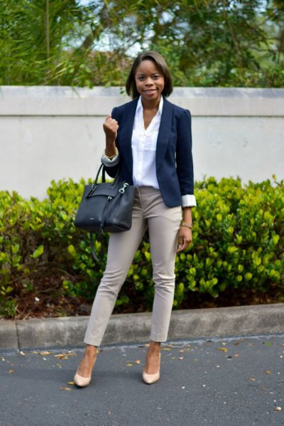 pale pink ankle pants with white shirt and navy blazer