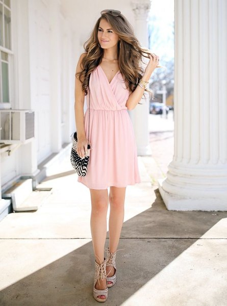 pale pink chiffon mini pleated wrap dress