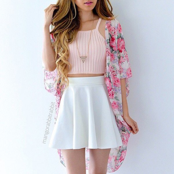 pale pink cropped sleeveless sweater with floral kimono
