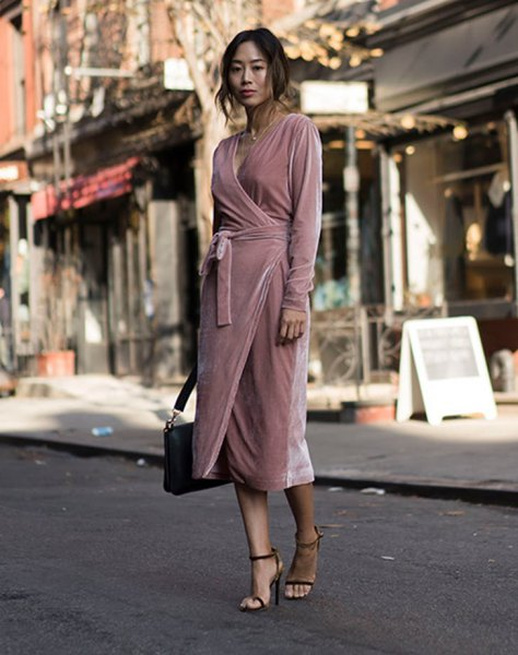 pale pink midi velvet wrap dress with black briefcase and heels