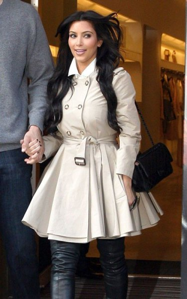 pale pink mini flared trench coat dress