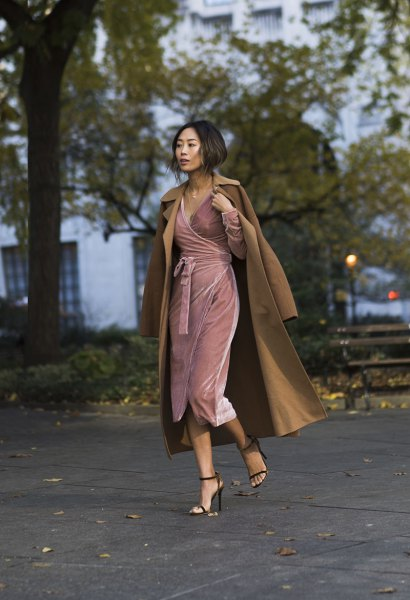 pale pink mini velvet dress with maxi camel wool coat