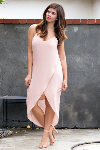 pale pink spaghetti strap deep v neck high low maxi dress