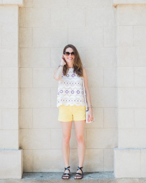 pale yellow shorts with white pink and blue scalloped hem sleeveless top