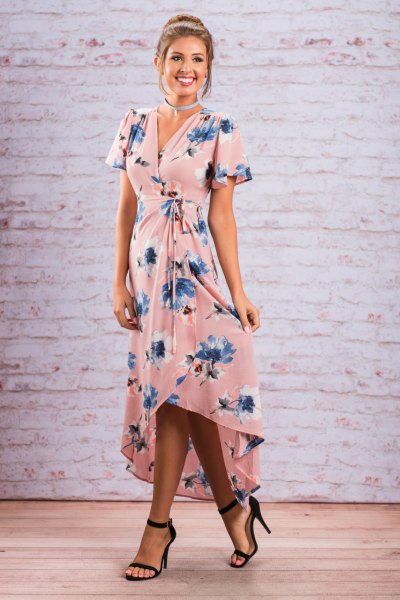 pink and blue floral printed high low maxi dress