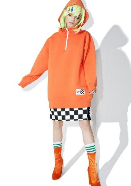 pink half zip hoodie with checkered mini skirt