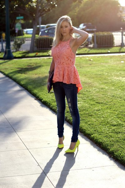pink halter neck lace top with yellow heels