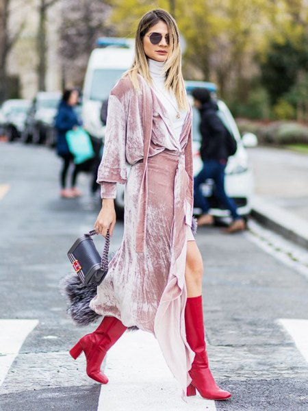 pink long sleeve maxi wrap dress with light grey turtleneck sweater