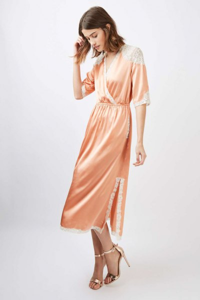 pink silk gathered waist midi wrap dress