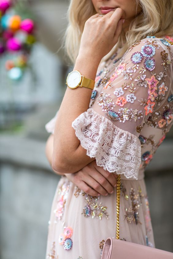 pink sundress embellished