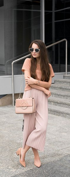 pink t shirt with blush pleated elastic waist wide leg pleated pants